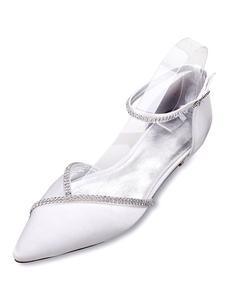 أحذية الزفاف الأبيض الساتان أشار تو الراين حزام الكاحل شقة أحذية الزفاف