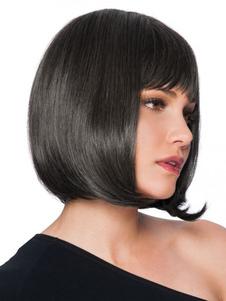 Человеческие волосы Парики Женские черные прямые слоистые бобы с боковыми взрывами