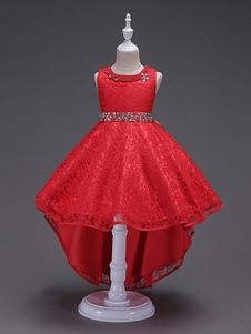 Платья из цветной девушки Платья с красной кружевной принцессой