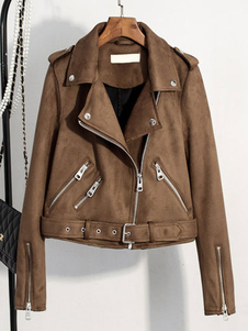 Браун Мото куртка отложной воротник с длинным рукавом женщин панк короткий куртка