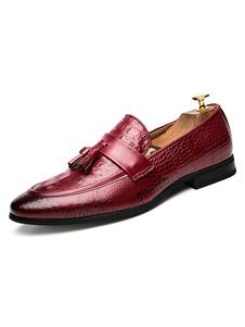 Бургундия платья обувь Мужская направленная пальца ноги на мокасины с кистями
