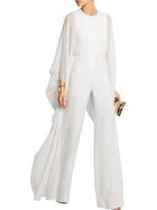 Белый длинный комбинезон с круглой шеей с длинным рукавом и шифоновым шифоновым комбинезоном для женщин