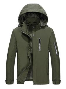 Hunter Green Jacket Мужская с капюшоном с длинным рукавом Slim Fit с печатной курткой