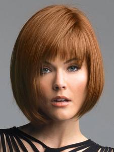 Человеческие волосы Парики Боб Стиль стороны охвачены Bangs Слоистые прямые короткие парики