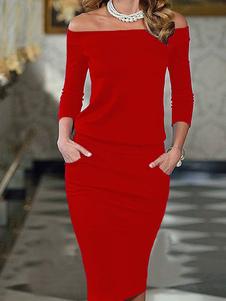 Vestito attillato donna Cotone misto con spalle scoperte maniche a 3/4 monocolore
