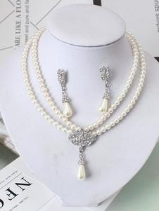Свадебное жемчужное ожерелье Комплект Vintage Ivory Double Strand Bridal Привесное ожерелье и серьги с серьгами