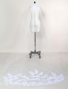 حجاب الزفاف الكاتدرائية الدانتيل الأبيض تقليم طبقة واحدة طويل الشلال الحجاب للعرائس