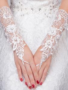 Guantes de marfil de encajeFiesta de bodas Longitud de muñeca sin dedos Invierno
