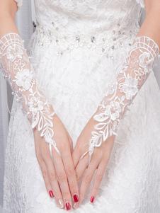 Luvas de noiva com renda com cintura cor de marfim Comprimento de Pulso