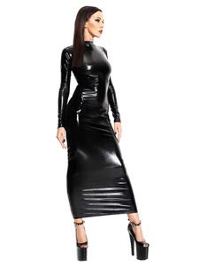 Vestidos del club de elastano de marca LYCRA negros con escote estilo marinero de patente con diseño hueco con manga larga sexy