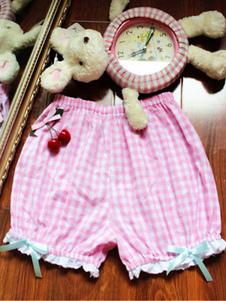 Sweet Lolita Trousers Lace Ruffles Bows Plaid Pink Lolita Shorts