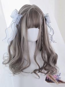 Peluca de Lolita de fibra resistente al calor Color de lino