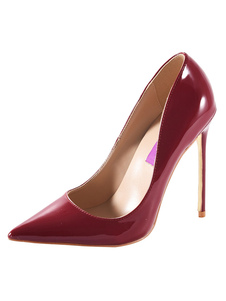 Women's High Heels Borgonha Pointed Toe PU Stiletto Slip On Pump Shoes