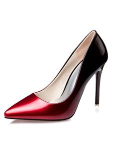 Sapatos de salto alto feminino Ombre Pointe Toe Stiletto Slip On Pump Shoes