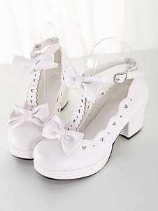 Sweet Lolita Shoes White Chunky Heel Square Toe Bows Lolita Pump Shoes