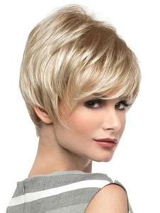 Pelucas de cabello humano Beige claro Pixies & Boycuts estilo moderno 8 inches