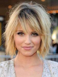 Короткие парик волос Lazy Curl Волнистые Bouncy слоистые прямые женщины блондинка человеческие волосы парик