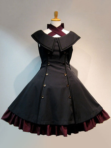 Vestido sem mangas Festa de Chá gótica de algodão cor sólida Vestido de alça preta sem mangas