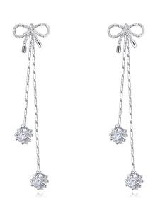 Серьги с бриллиантами из серебра Кубические циркониевые кисти Свадебные украшения