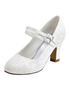 أحذية الزفاف العاج 2020 المرأة جولة تو ماري جين أحذية الزفاف