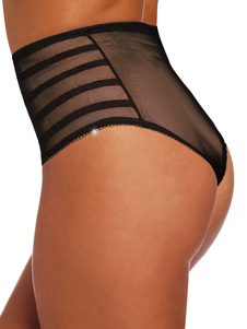 Braçadeiras de controle preto Couro de vestuário feminino Tulle Bum Lift