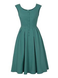 Vestido vintage gola redonda com botões sem mangas Verão