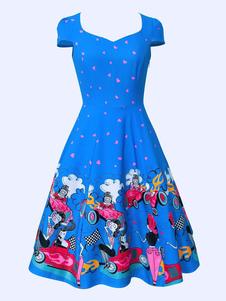 Vestido vintage No Built-in Bra vestido com mangas curtas Verão roupa decote V com desenho de personagem de cartoon