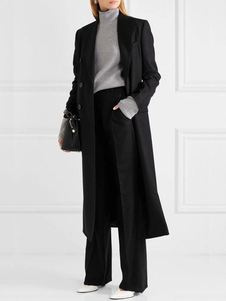 أسود البازلاء معطف طويل الأكمام التلبيب طوق الصوف المرأة طويلة الشتاء المعاطف