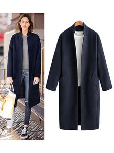 Hunter Green Coat Stand Colar de manga comprida Casaco de inverno de lã feminina