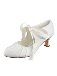 العاج أحذية الزفاف الدانتيل جولة اصبع القدم تقليد الحرير بكرة كعب أنيقة مضخات مضخة المرأة