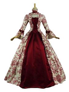Disfraz Carnaval Disfraz Barroco De Halloween Vestidos Largos Vintage Rojo Oscuro Halloween Estampado Floral Volantes De Encaje Carnaval