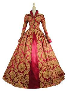 Disfraz Carnaval Vestido de retro para adultos Estilo Barroco Real para espectáculo rojo con vestido Carnaval
