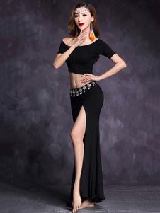 ベリーダンスコスチューム 2020 社交ダンス衣装 ブラック 半袖 クロップトップと非対称ロングスカート スプリット ラインストーン 女性用ダンス衣装