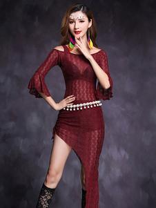 ベリーダンス衣装 パフォーマンス 大人用 女性用 アシンメトリー トップス&ロングスカート 無地 ベリーダンサー
