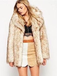 Faux Fur Coat Bege Notch Collar Casacos de inverno de manga comprida para mulheres