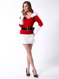 Costume Carnevale Costume da Babba Natale sexy rosso con blocchi di colore babbo natale in flanella di flanella cintura