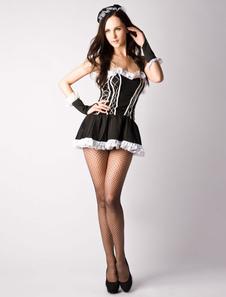 Disfraz Carnaval Disfraz de mucama de criada para Mardi Gras para adultos de poliéster negro con vestido&con adorno para la cabeza Carnaval