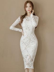Abito attillato bianco con scollo tondo maniche lunghe monocolore spacco frontale donna