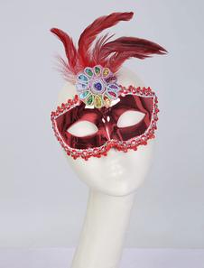 Halloween Vintage Mask 1920s Flapper Красное перо Бисероплетение Аксессуары для женщин Хэллоуин