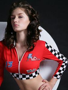 Сексуальный костюм для костюмов на Хэллоуин, гоночный автомобиль, клетчатый цветной блок с красной крышкой с шортами для женщин Хэллоуин
