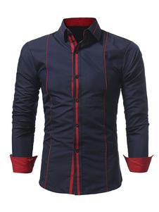 الرجال عارضة قميص الظلام البحرية المرقعة طوق طويل الأكمام القطن قميص