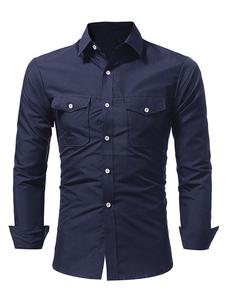 الرجال عارضة قميص الظلام البحرية الياقة طوق طويل الأكمام القطن القمصان مع جيوب