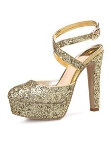 Scarpe da sera pompe elegante & lussuose 12.5cm tacco a fino rotondo festa da rave party donna