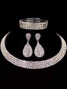 Свадебное ожерелье Комплект Серебряный Drop Серьги Rhinestones Бисера Браслет Браслет Люкс комплект ювелирных изделий