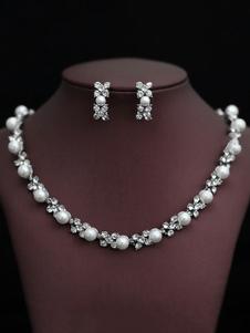 Жемчужное ожерелье Комплект Свадебные серьги с бриллиантами
