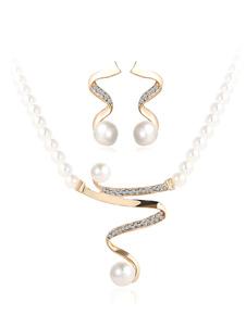 Completo gioielli oro in lega d'acciaio gioielli Set orecchini&collana matrimonio elegante