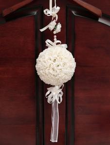 الزفاف زهرة الكرة الأبيض الانحناء أشرطة شنقا زينة الزفاف