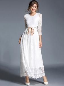 Белое кружевное платье с круглой шейкой 3/4 длинное платье с длинным рукавом с лентой