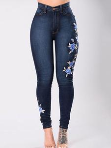 جينز المرأة الجينز الأزرق العميق مطرزة نحيل الجينز الطويل
