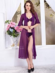 Vestido sexy de tul Color liso con volante fruncidosemi-transparente para uso en sala sexy Invierno con sujetador&con bragas modernas&Vestido largo
